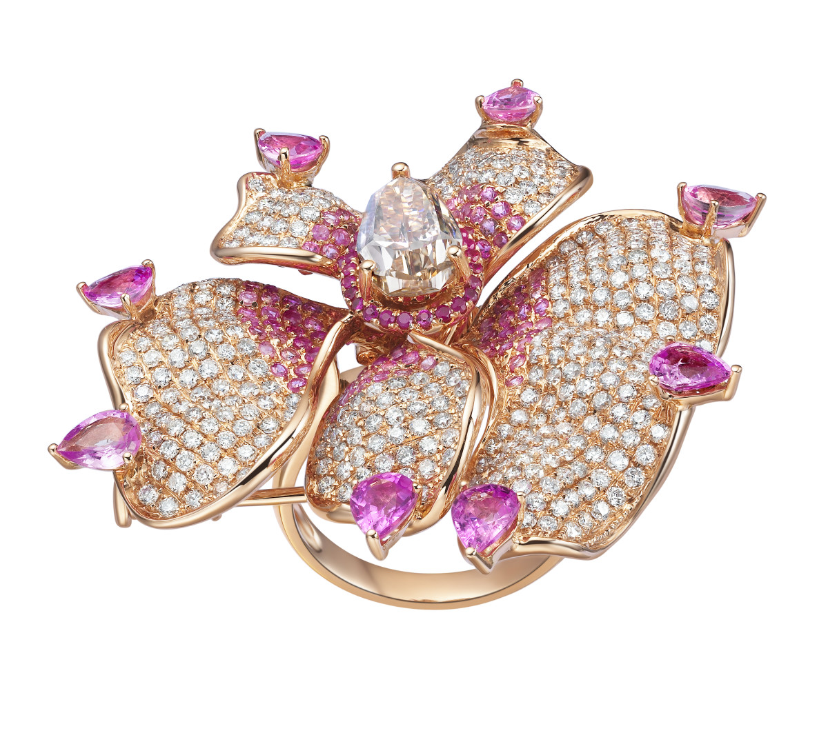 Rose Gold Orchid Ring – Bespoke