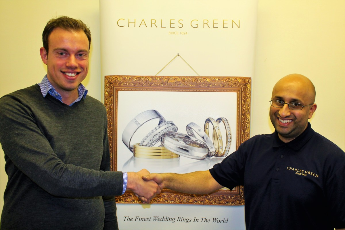 Oliver Sutton, Managing Director at Charles Green (L) with New Gem Mounter, Jayesh Parekh (R)