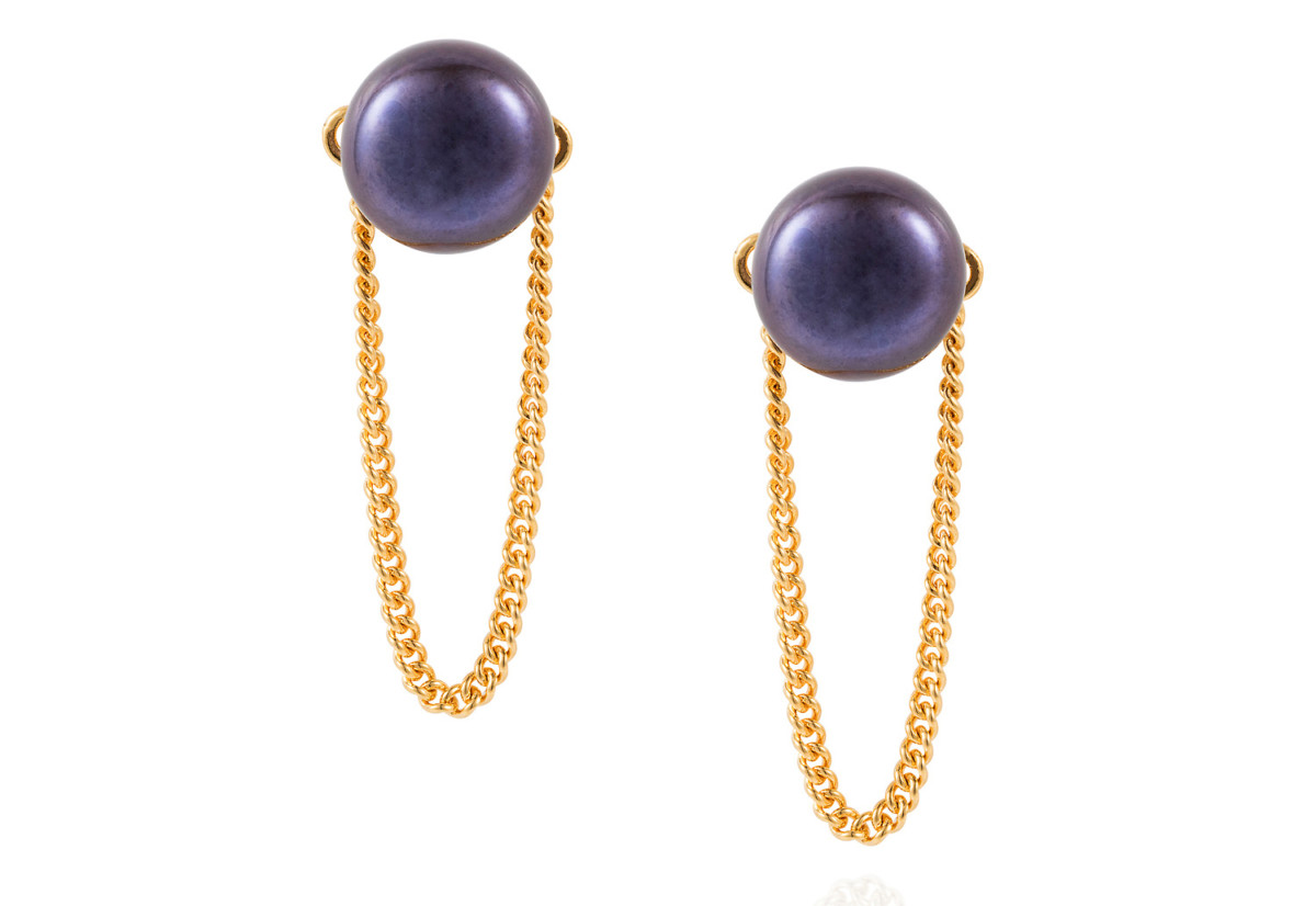 Pearl Chain Stud Peacock & Gold