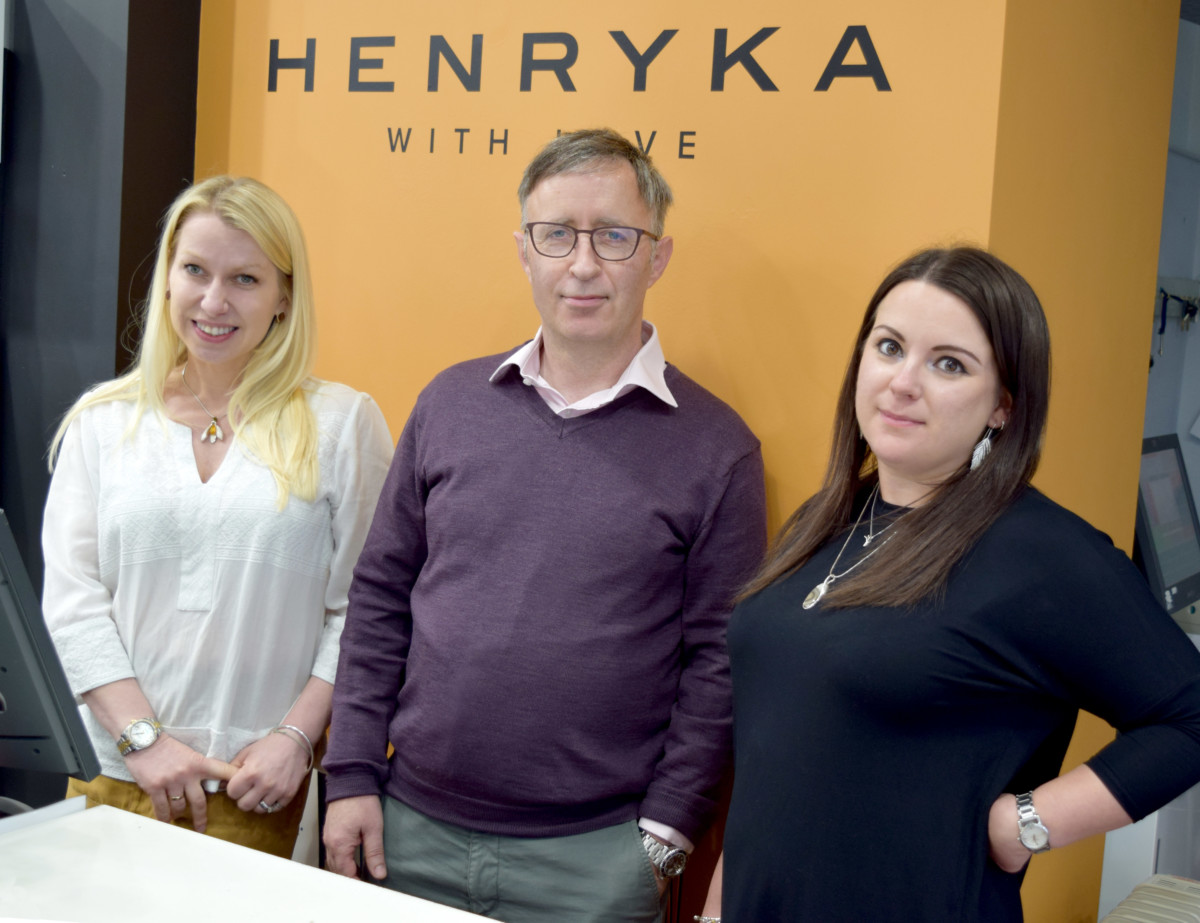From L-R Henryka founder Anna Emmett, new sales agent Ian McWilliams and Henryka sales manager, Hollie Francis.
