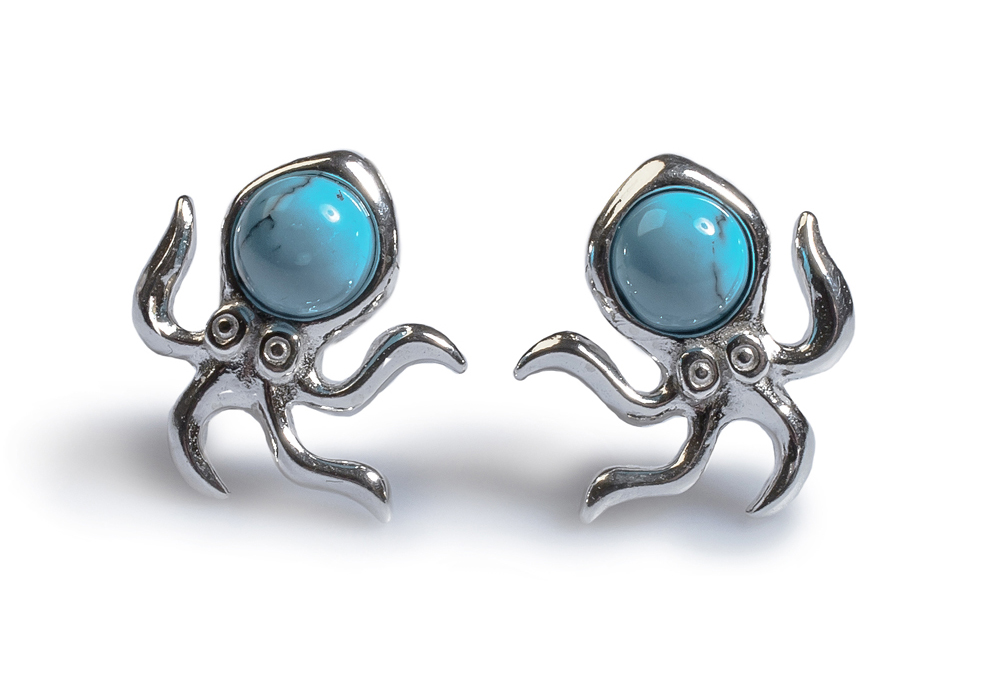 Henryka Octopus stud earrings with turquoise gems – World Oceans Day 2018