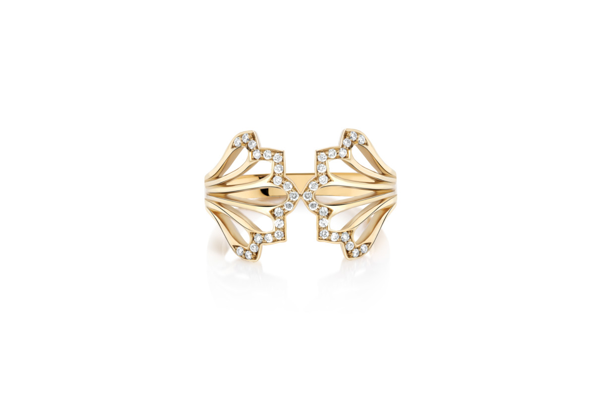 Flora Bhattachary Recycled Gold and DIamond Five Feather Ring, Mor Collection Front View
