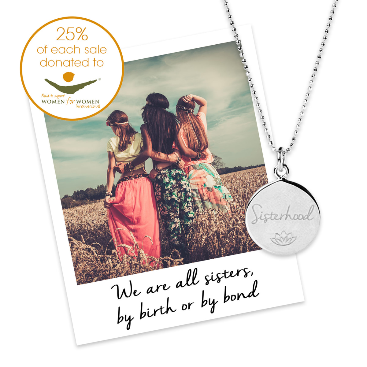 Mantra Sisterhood Necklace, £45 in Sterling Silver, in support of Women for Women International, available from www.mantrajewellery.co.uk