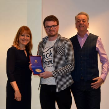 Former Goldsmiths' Company Apprentice Will Lander presented with medal at the Goldsmiths' Centre The Goldsmiths' Centre (002)