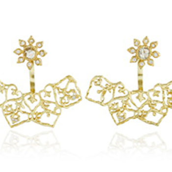 Natalie Perry, Diamond Flower Ear Jackets in 18ct recycled gold, £1815